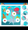 match pieces puzzle with sea animals group vector image vector image