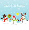 merry christmas card with snowmen vector image vector image