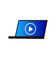 modern laptop on desktop video play at cinema vector image