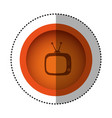 orange round symbol old television with antenna vector image vector image