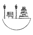 park with bench lamps and fountain icon image vector image vector image