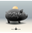 piggy moneybox with coin - money for nothing vector image vector image