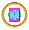 Pink alarm clock icon cartoon style vector image vector image