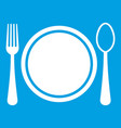place setting with platespoon and fork icon white vector image vector image