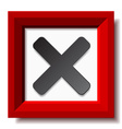 red negative checkmark vector image