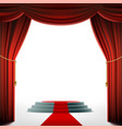 round podium under the red curtain vector image