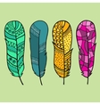 Set of four isolated hand drawn feather vector image vector image