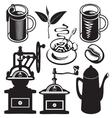 set of utensils for hot drinks vector image vector image