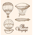 Set of vintage hand drawn air balloons vector image vector image