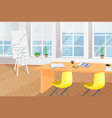 shiny office room with table and flip chart poster vector image