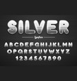silver shining font letters and numbers vector image vector image