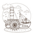 steamboat vintage water transport design gaming vector image vector image