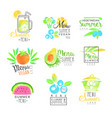 summer vegetarian menu set for logo design vector image vector image