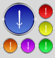 sword icon sign Round symbol on bright colourful vector image vector image