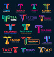 t icons modern design corporate identity signs vector image vector image