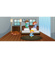 three kids having fun in bedroom vector image vector image