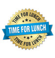 time for lunch 3d gold badge with blue ribbon vector image vector image