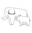 wild elephant and rhino vector image vector image