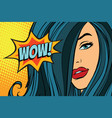 wow beautiful woman with long hair vector image