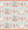 wrapped presents under the tree grey and orange vector image vector image