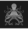 Zentangle stylized white Octopus Hand Drawn lace vector image