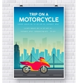 Motorcycle on a road on brick wall vector image
