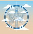 sacred cross catholicism religion in sky symbol vector image