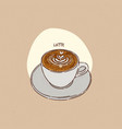 a cup latte hand draw sketch vector image vector image