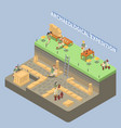 archeology isometric compositon vector image vector image