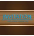 Art brown wooden invitation card vector image