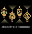 art deco earrings collection luxury golden jewel vector image vector image