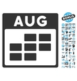 August Calendar Page Flat Icon With Bonus vector image
