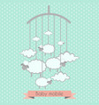 bamobile with little lambs and clouds baby vector image vector image