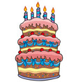 big cartoon cake with candles vector image vector image
