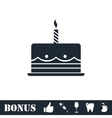 Birthday cake icon flat vector image vector image