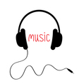 Black headphones with cord and red word Music Card vector image vector image