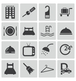 black hotel icons set vector image vector image