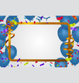 blue balloons background sale party banner golden vector image vector image