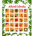 christmas advent month days calendar design vector image