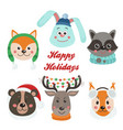 christmas set with isolated face animals vector image