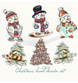 christmas snowmen set for design vector image vector image