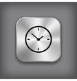Clock icon - metal app button vector image