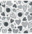 coffee cup hearts and cake seamless vector image vector image