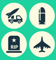 combat icons set collection of slug rip vector image vector image