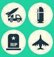 combat icons set collection of slug rip vector image vector image