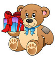 cute teddy bear with gift vector image