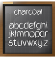 Digital charcoal hand drawn alphabet vector image
