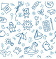 Doodle children drawing background seamless