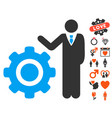 engineer and gear icon with love bonus vector image vector image