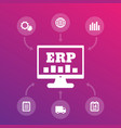 erp system icons enterprise resource planning vector image vector image